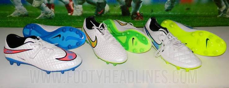 O novo pacote de chuteiras da Nike brancas também traz cores de alta-visibilidade