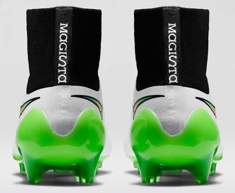 Detalhe do calcanhar da nova chuteira Nike Magista Obra branca
