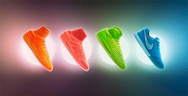 Coleção de chuteiras Nike futsal que brilham no escuro